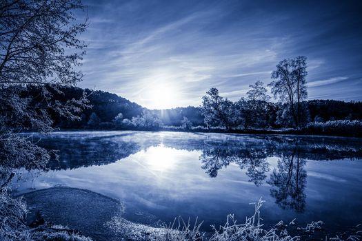Sonnenuntergang, See, Bäume, Landschaft