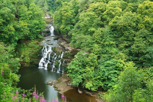 Corra-Linn Waterfall, Scotland, small river, waterfall, water, forest, trees, landscape