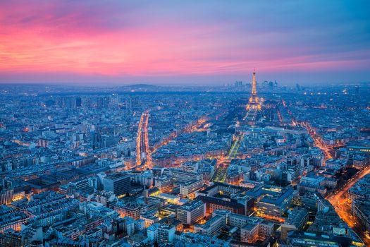 Paris, Frankreich, Paris, Sonnenuntergang, Stadt, Der Eiffelturm