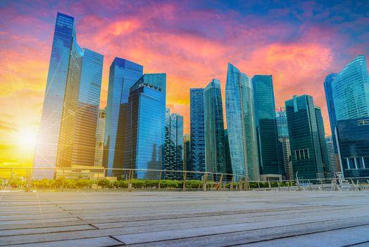 Сингапур, Сингапур, город, сумерки, закат