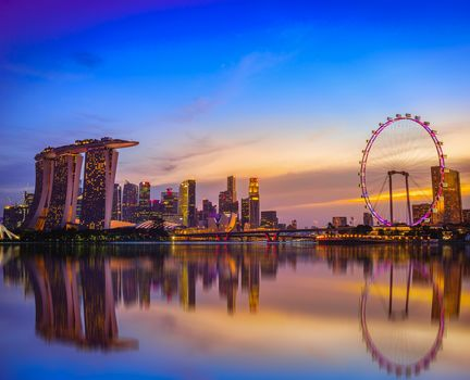 Singapore, Singapore, city, dusk, sunset