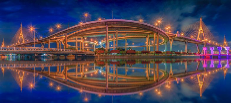 Panoramic view of Bhumibol Bridge, Bangkok, Thailand, view