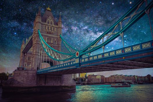 Landscape with the Milky Way Galaxy, Night sky, stars, Tauэrskiy bridge, London, United Kingdom