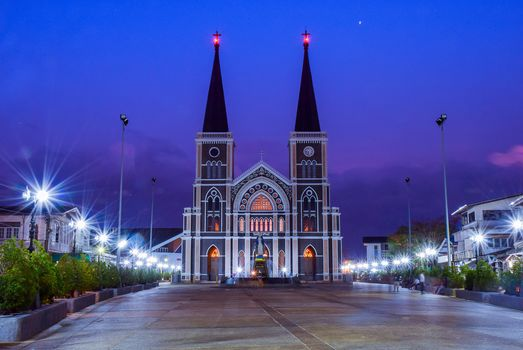 Roman catholic church, statue of saint mary, dusk, Chantaburi, Thailand