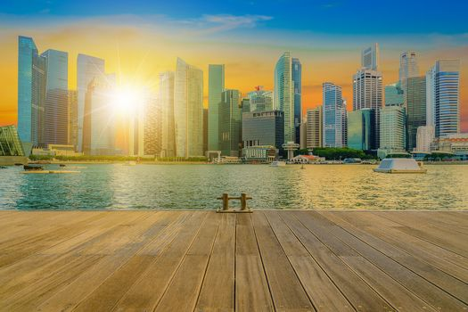 Singapore, city skyline, City center, sunset, pier