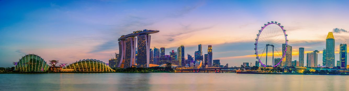 Singapore skyline, view of skyscrapers, Marina Bay, bay, dusk, Singapore, view