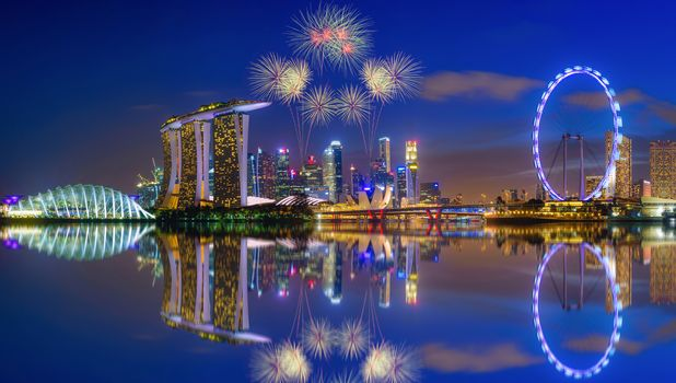 fireworks, Marina Bay, Singapore, firework, skyscrapers, dusk, city