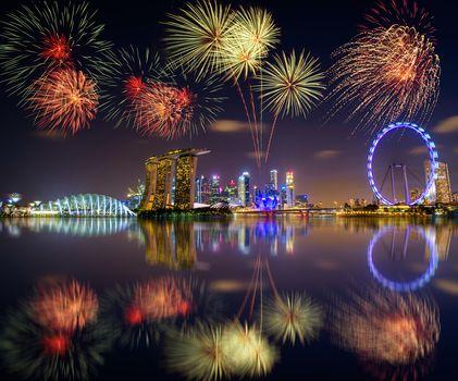 fireworks, Marina Bay, Singapore, firework, skyscrapers, dusk, city