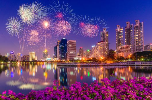fireworks, firework, Benyakitti Park, dusk, Bangkok, Thailand