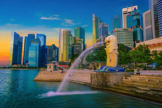 Merlion Statue Fountain, Merlion Park, Singapore, sunset