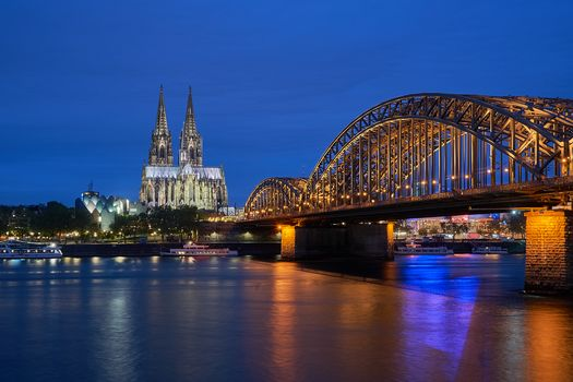 Cologne Cathedral, Cologne, Germany, sunset, dusk