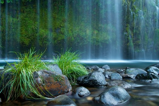 Mossbrae Falls, California, waterfall, stones, grass, rock, nature, landscape