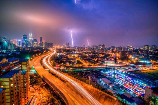Kuala Lumpur, Malaysia.city, night, lightning, road, illyuminatsiya, lights, at home