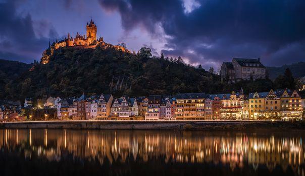 Cochem Castle, Reichsburg, Reichsburg, Kohem, Imperial castle, moselle, the Moselle River, Moselle River, view, Rhineland-Palatinate, Rhineland, Palatinate, Germany, night, urban landscape