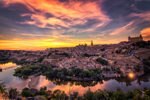 Toledo, Toledo, Spain, sunset, urban landscape