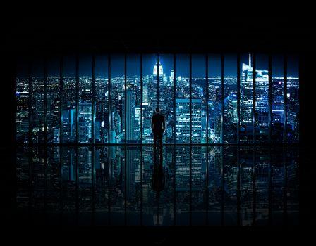 New York, Gotham, Batman, Centre, building, city, empire, state, knight, Rockefeller, Manhattan, USA, City center, Midtown, sky, darkness, skyline, night, a photo, architecture, room, meditation