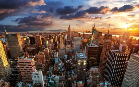 New York, USA, city, dusk, sunset