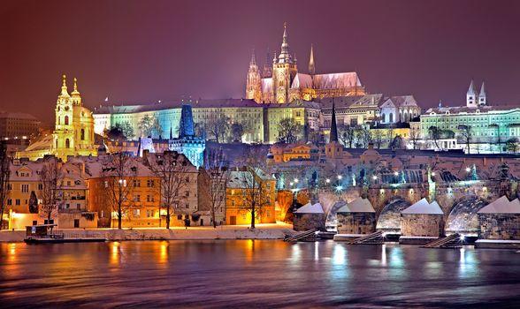 Prague, Czech Republic, River Vltava, dusk, illyuminatsiya