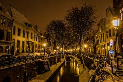 Utrecht, Netherlands, night, night cities, city, lights, at home, channel