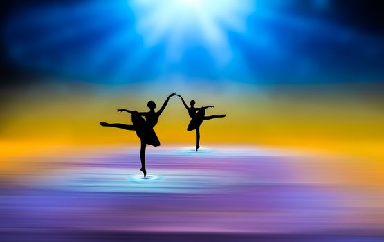 абстракция, фон, балерины, лучи, цветовая гамма