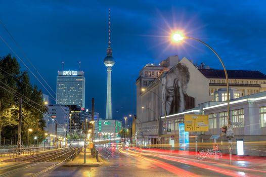 Berlin, Ebersvalder Straße, road, at home, lighting, illyuminatsiya, city