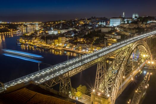 Port, port, Portugal, city, night, bridge, lighting, illyuminatsiya