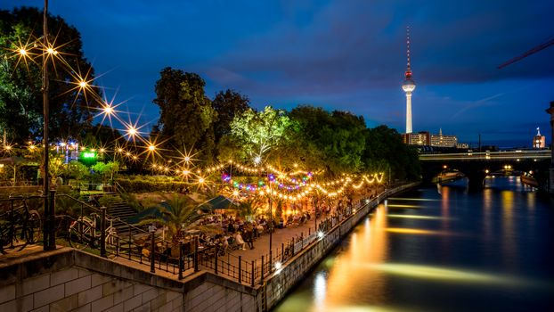 Berlin, Germany, city, television, dusk, park, river. lights, illyuminatsiya