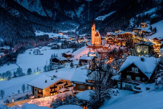 pilgrimage church of St. Vincent, Carinthia, Grossglockner, winter, dusk, at home, trees, landscape