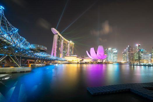 Singapore, laser show, city, night, lights, at home, bridge, illyuminatsiya
