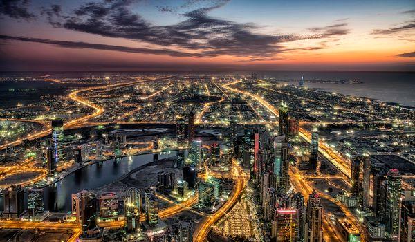 Burj Khalifa in Dubai, Burj Khalifa, Dubai, OAE, United Arab Emirates, night, lights, illyuminatsiya