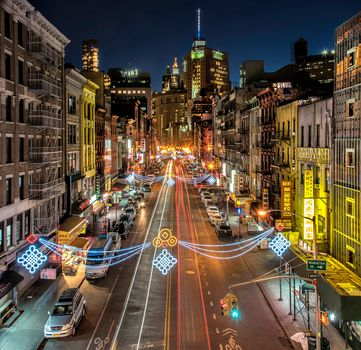 Main Street, The Angels, California, Los Angeles, California, USA, city, night, lights, road, at home, illyuminatsiya
