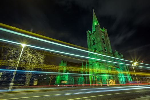 St. Patrick Cathedral, Dublin, Ireland, St. Patrick's Cathedral - Dublin, Ireland, road, building, night, illyuminatsiya