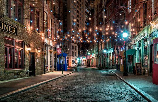 New York, USA, city, night, Street, lighting, lights, at home, illyuminatsiya, road, night cities, night city