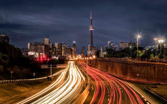 Toronto, Canada, Ontario, road, city, night, lights, illyuminatsiya