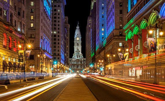 Philadelphia, Hall, colored lights, at home, road, illyuminatsiya, city, night cities