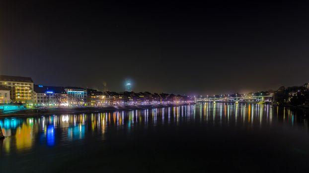 Basel, Panorama, Basel, Switzerland, city, night