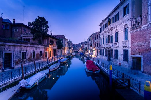 Venetia, Venus, Italy, channel, water, a boat, at home, night, city