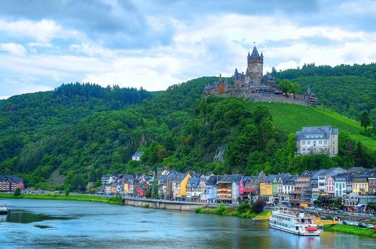 Cochem .Mosel Valley, Germany, Cochem Moselle Valley, Germany, Mosel castles, city, Castle, River, landscape