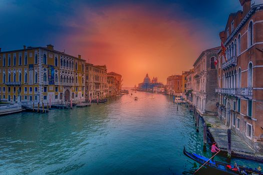 Grand Canal, Venice, Grand-channel, Venetia, Italy, sunset, city