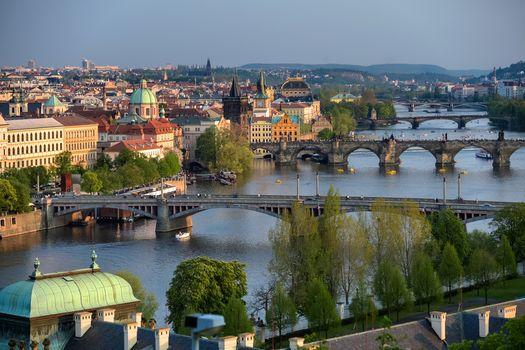 プラハ, チェコ, プラハ, チェコRepublic.Karlovほとんど, ヴルタヴァ川, 街, 家, ブリッジ