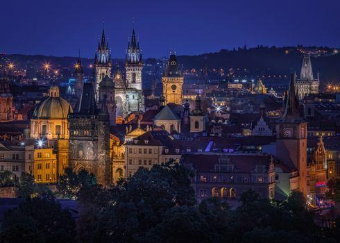 Prag, Tschechische Republik, Prag, Tschechien, Zwielicht, Stadt
