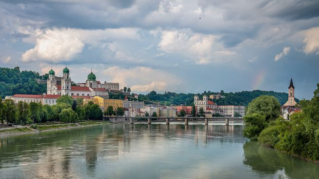 Passau, city, River, Hotel, Bavaria, Germany, at home, view