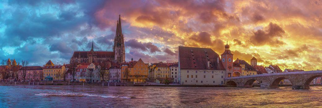 Regensburg, Bavaria, Germany, sky, building, Sunset, water, tower, River, bridge, view