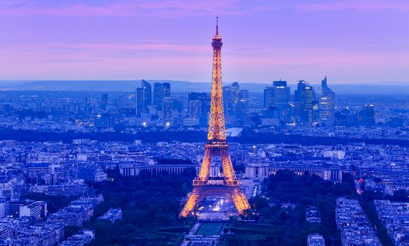 Eiffel Tower, Paris, France, city, night, illyuminatsiya