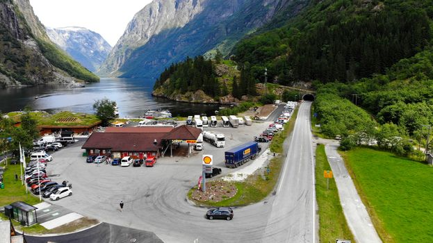 Norway, Norway, gas station, gas station in the mountains, truck, tunnel, tunnel, lake, fьord, fordı, the mountains, forest, shell, shell, track, road, bus
