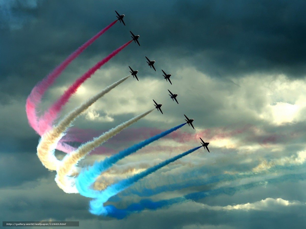 aircraft, clouds, color, loop, fighters