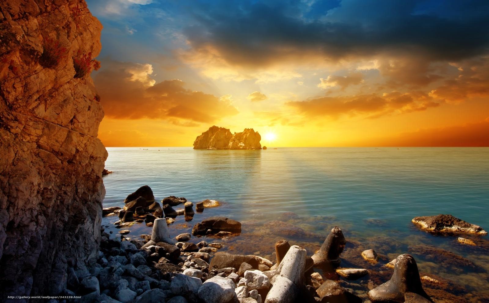 Paisagem Pr Do Sol Cu Pedras Mar Costa Rochas 343239