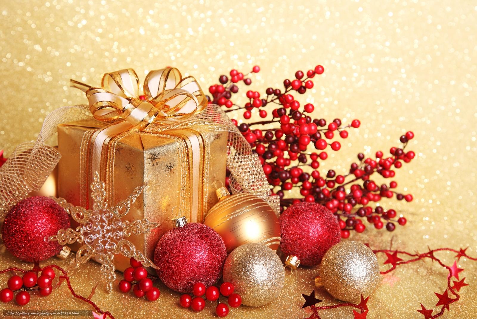Обои подарок, Коробка, рождество, ёлочные украшения, золотые, шарики. Новый год foto 15
