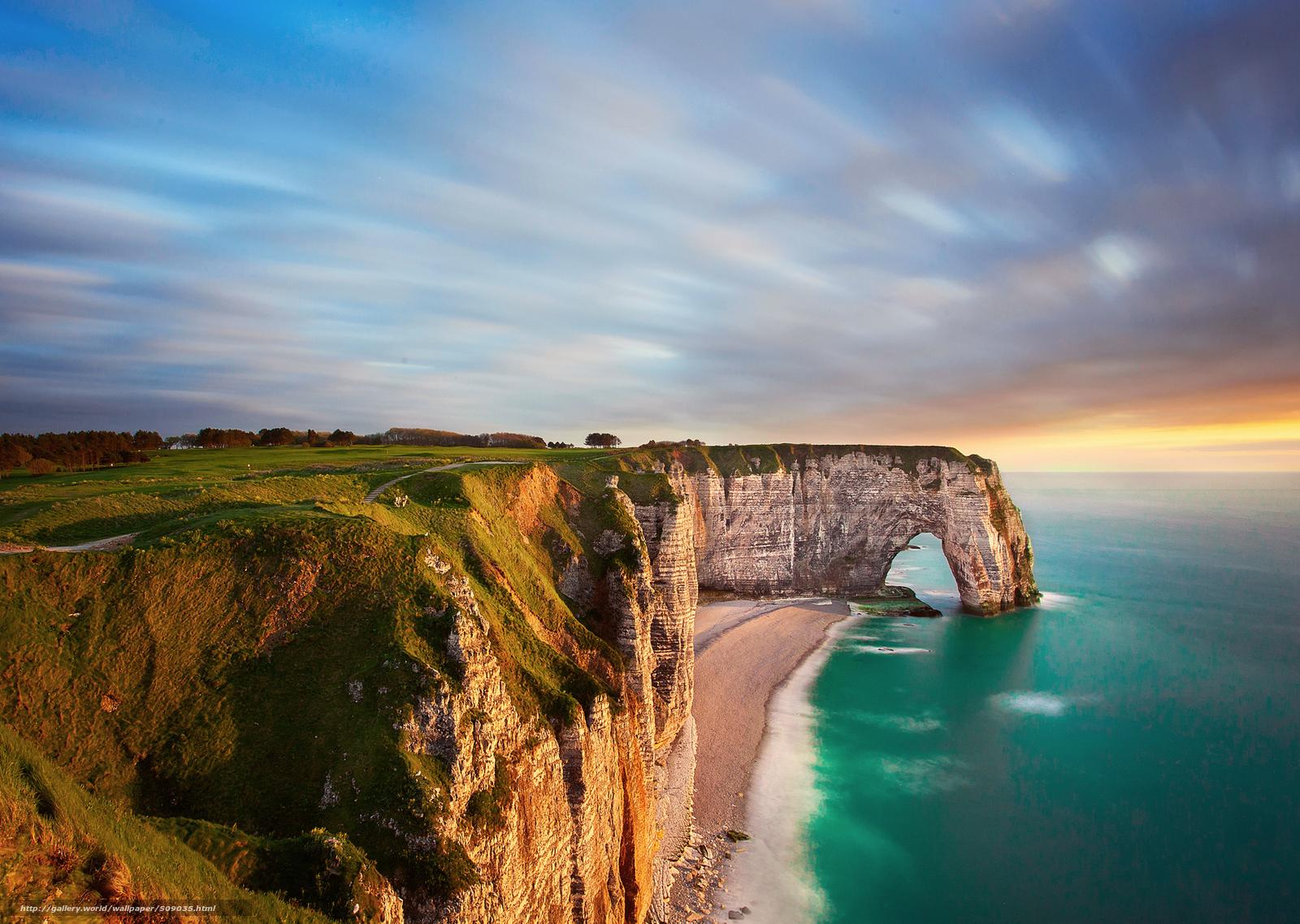 Frankreich Normandie Strand Felsen Bogen Meer Abend 509035