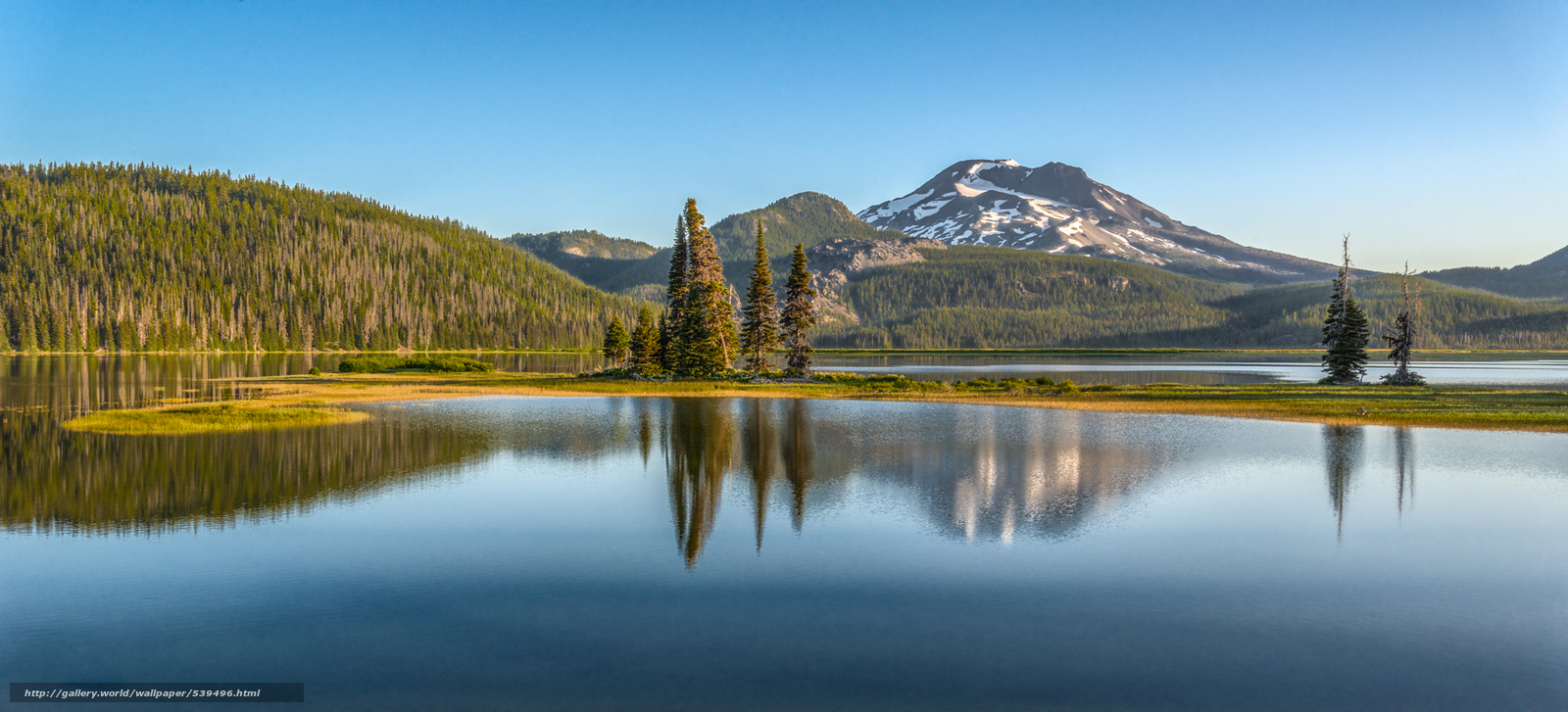 sunrise, South Sister, Sparks lake, Oregon, USA, panorama